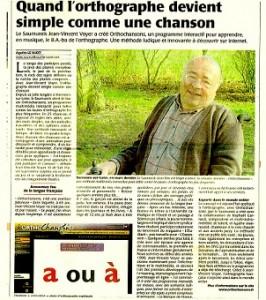 dans la presse régionale : bel article pour le lancement des Orthochansons